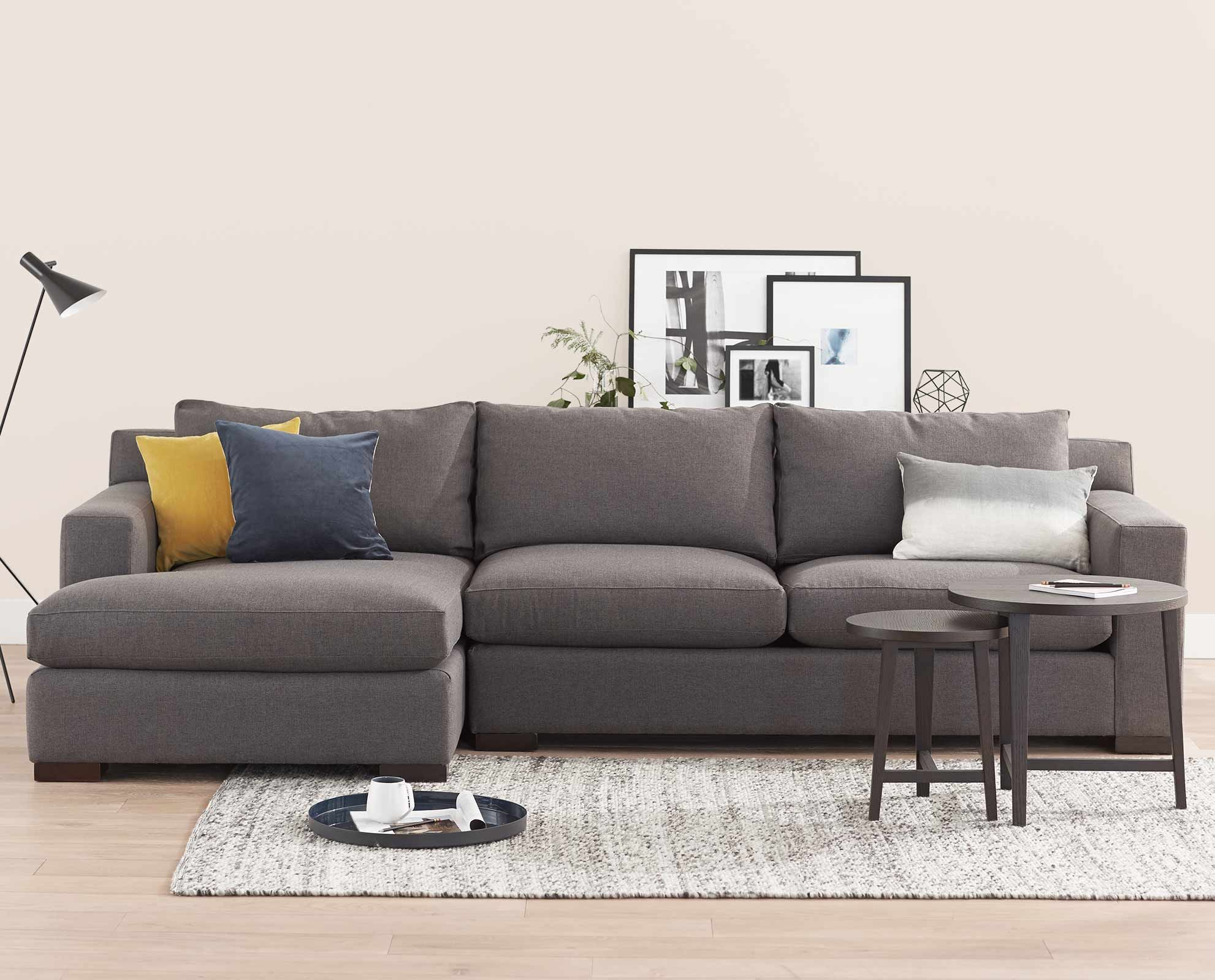 Beau ... The Aida Chaise Sectional Offers Clean Lines And Generous Seating With  Plush Cushions. Bench Made In The USA With An Eco Friendly, Kiln Dried  Hardwood ...