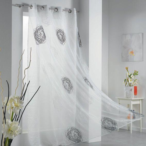 voilage oeillets taffetas crash blanc graphique pinterest voilages oeillet et taffetas. Black Bedroom Furniture Sets. Home Design Ideas