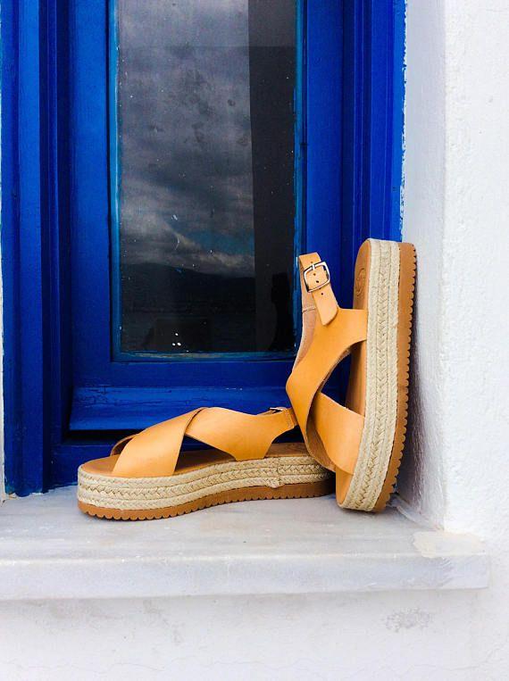 a5dd98036 Espadrille Platform Sandals in natural leather. Greek Leather | Hair ...