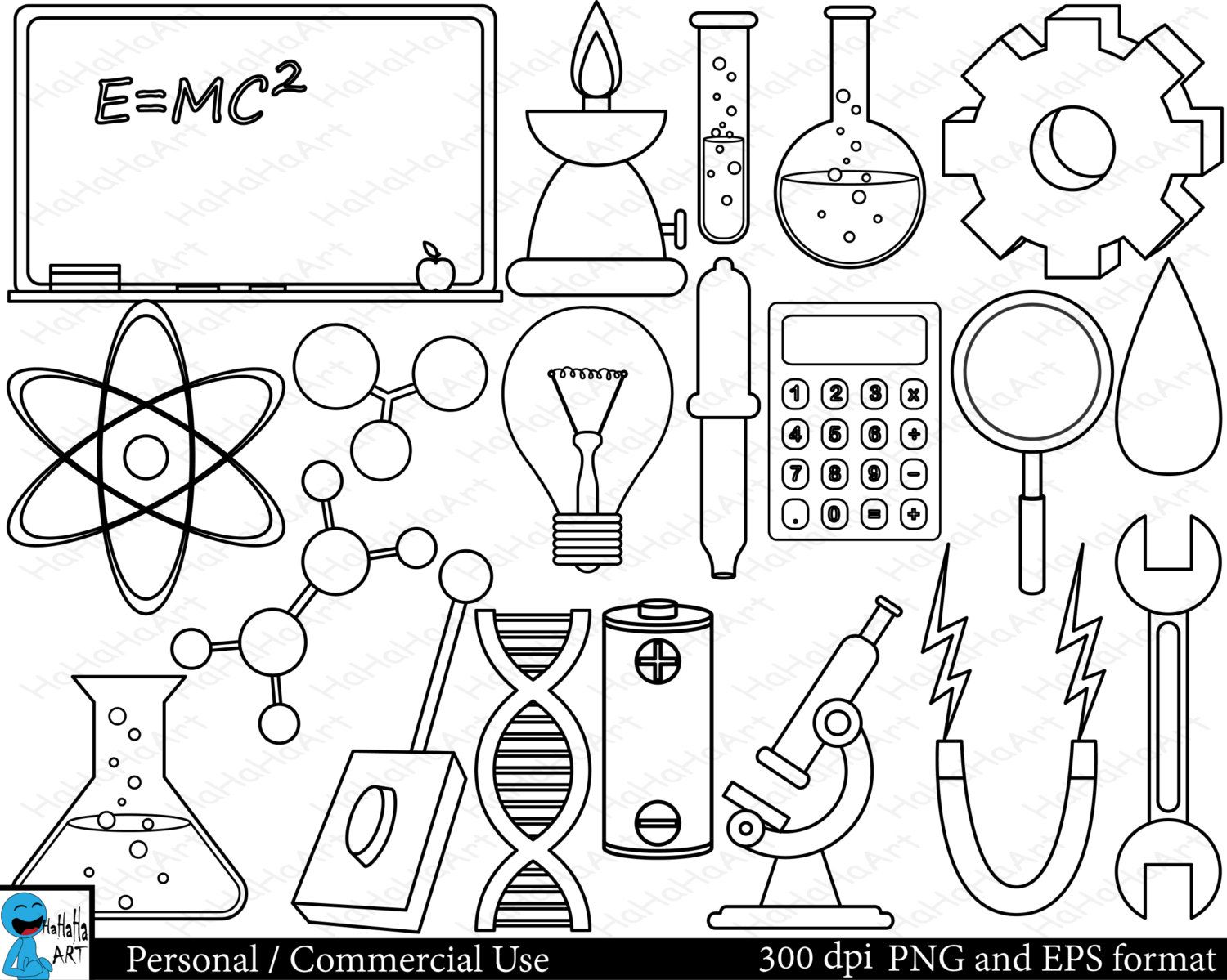 Outline Laboratory Set Clipart Digital Clip Art Graphics Personal Commercial Use 32 Png Images 00129 Digital Clip Art Graphics Science Clipart Clip Art