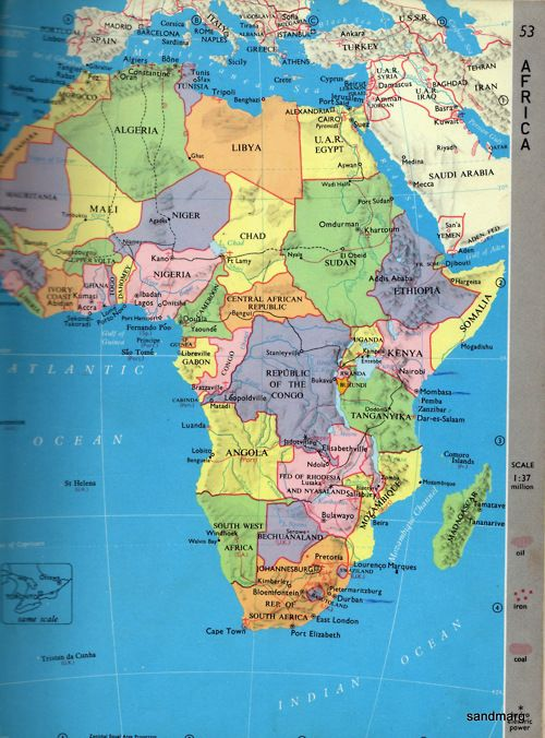 1962 Map of Africa | Maps and Push Pins | Africa map, Africa