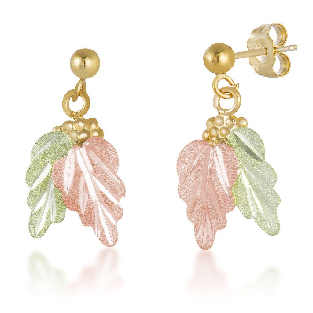 62aef557f Black Hills Gold Delicate Leaves Ball Post Earrings | Landstrom's ...