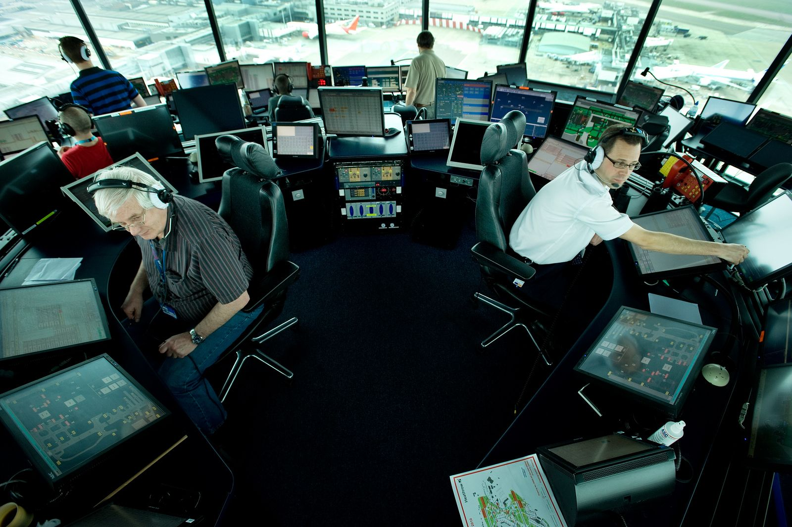 Air traffic controllers from the 54th Operations Support