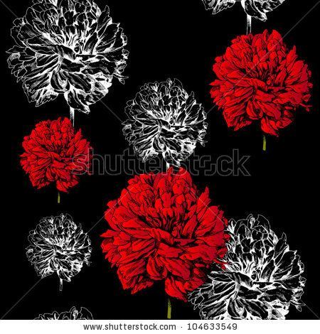 Abstract Floral Background Fashion Black Seamless Pattern Rich Vintage Art Wallpaper Retro Vector Fabric With Graphic Beautiful Red Creat