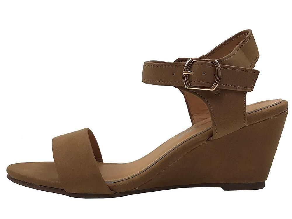 3627282e57c3 W Collection Womens Open Toe Wedge Sandal Ankle Strap Over Toe Mid High Heel   fashion