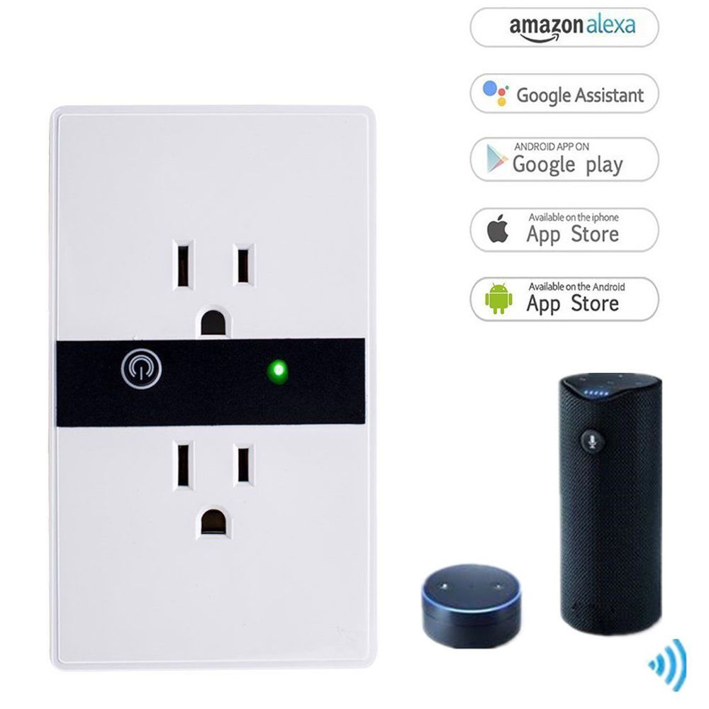 Wireless Smart Wall Outlet Plug Wi-Fi Duplex Receptacle Switch In ...