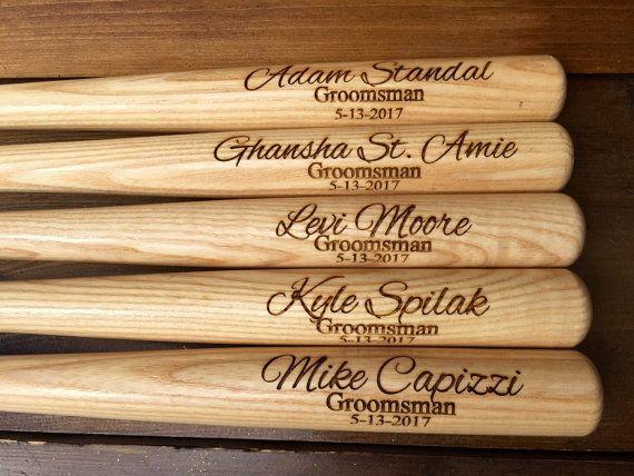 Baseball Wedding Gifts: Engraved Groomsman Baseball Bat, Groomsmen Baseball Bats