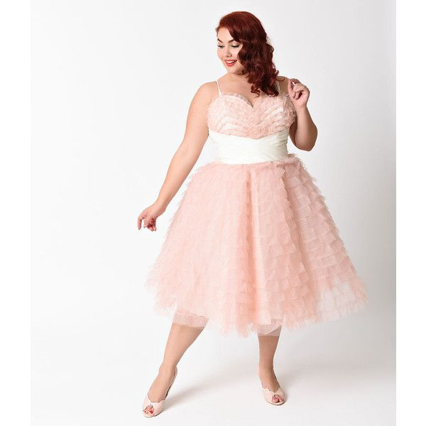 Unique Vintage Plus Size 1950s Peach Pink Sweetheart Cupcake Swing