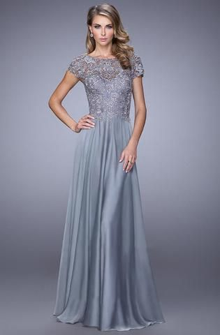 Photo of La Femme – 21627 Illusion Lace Chiffon Gown
