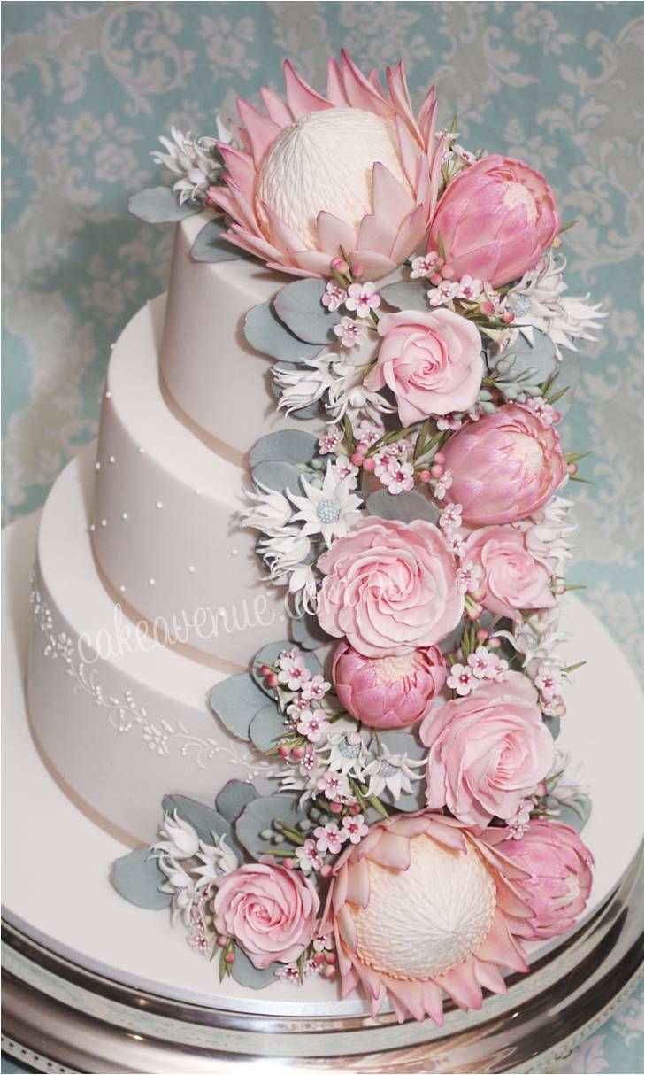 sugar and ice wedding cakes australian sugar flowers pink king proteas pink 20563