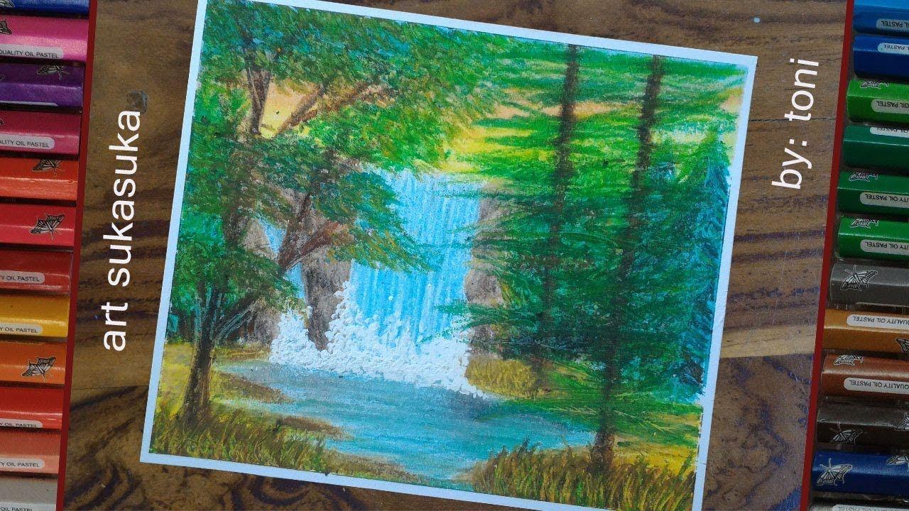 Landscape Waterfall Gambar Menggunakan Crayon Oil Pastel