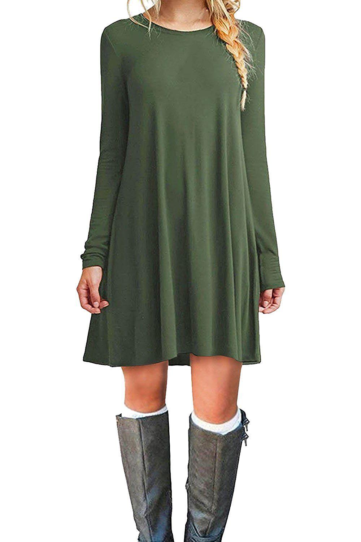 Molerani Women 39 S Casual Plain Long Sleeve Simple T Shirt Loose Dress S Army Green At Ama Green Long Sleeve Dress Long Sleeve Casual Dress Casual Dresses [ 1500 x 1000 Pixel ]