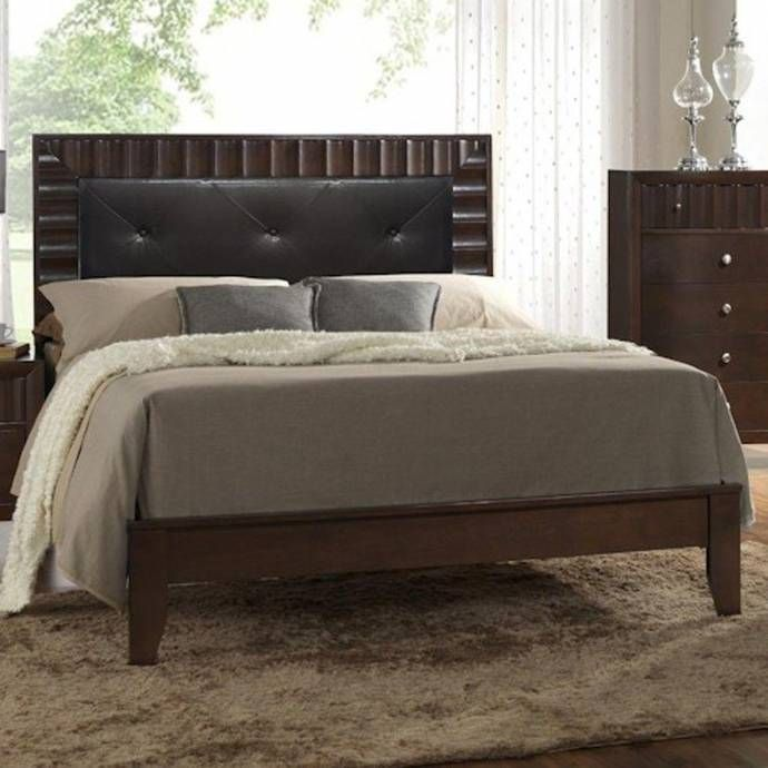 Crown Mark RB4900 Nadine Rich Brown Finish Black Leather King Size