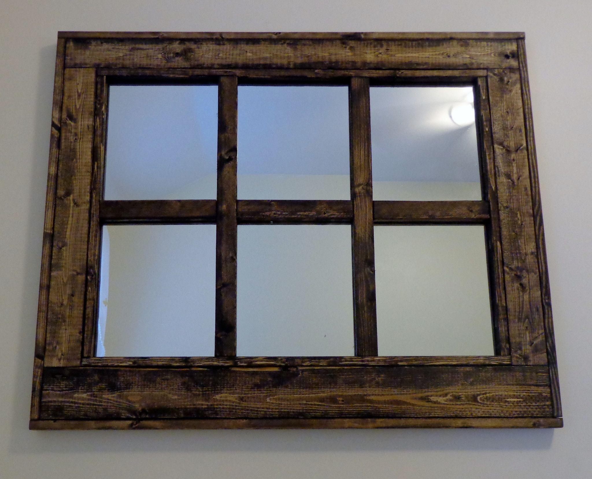 Herringbone Design Mirror Vanity Mirror Stained 6 Pane Reclaimed Wood Mirror Mirror Wall Wood Mirror