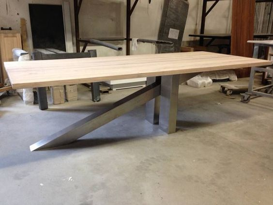 Rvs Onderstel Tafel : Springplank tafel eikenhout rvs onderstel Столы tavolo tavoli и