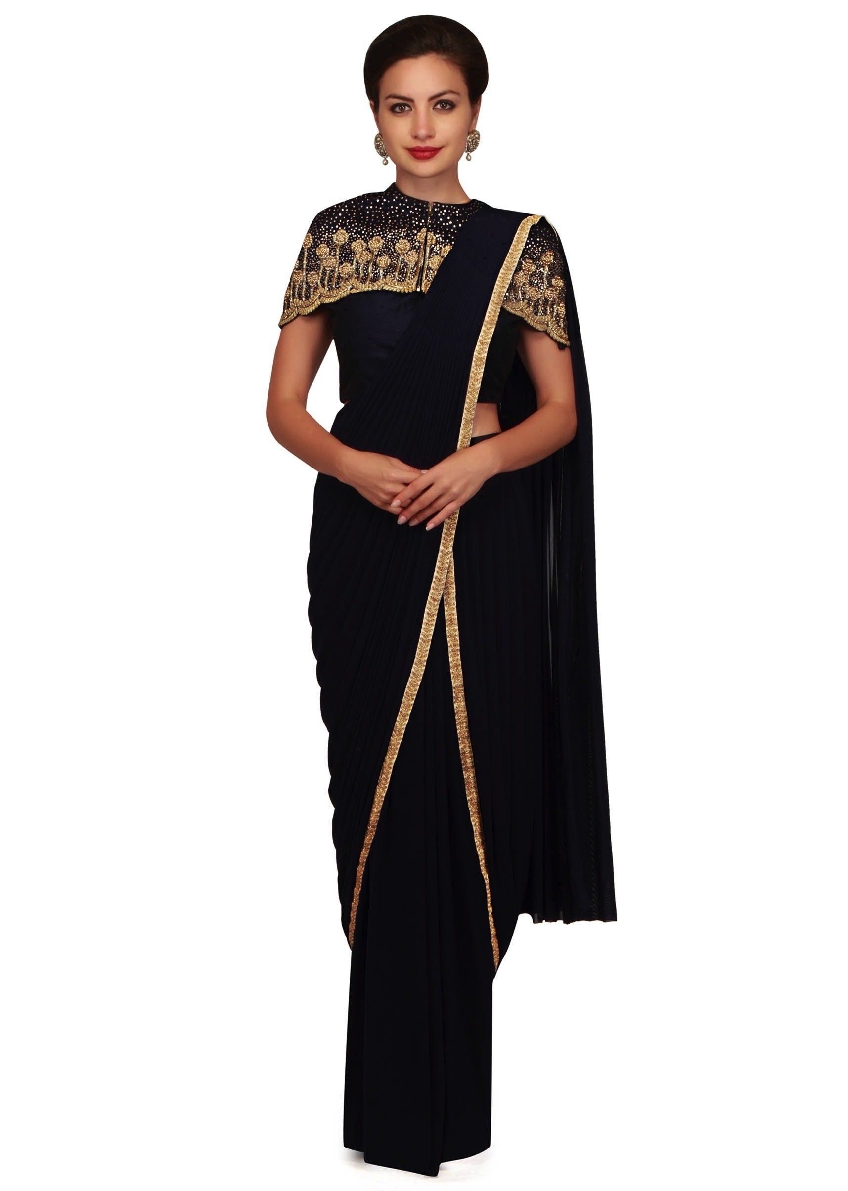 3c2aad5325 ‌Navy blue pre stitched saree featuring in lycra net. Matched with navy  blue blouse and fancy cape in sequin embroidery.