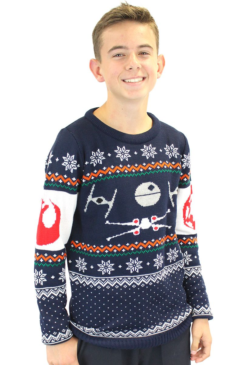 get the starfighter style of either the imperial or rebel forces with this official star wars knitted tie fighter vs x wing christmas jumper
