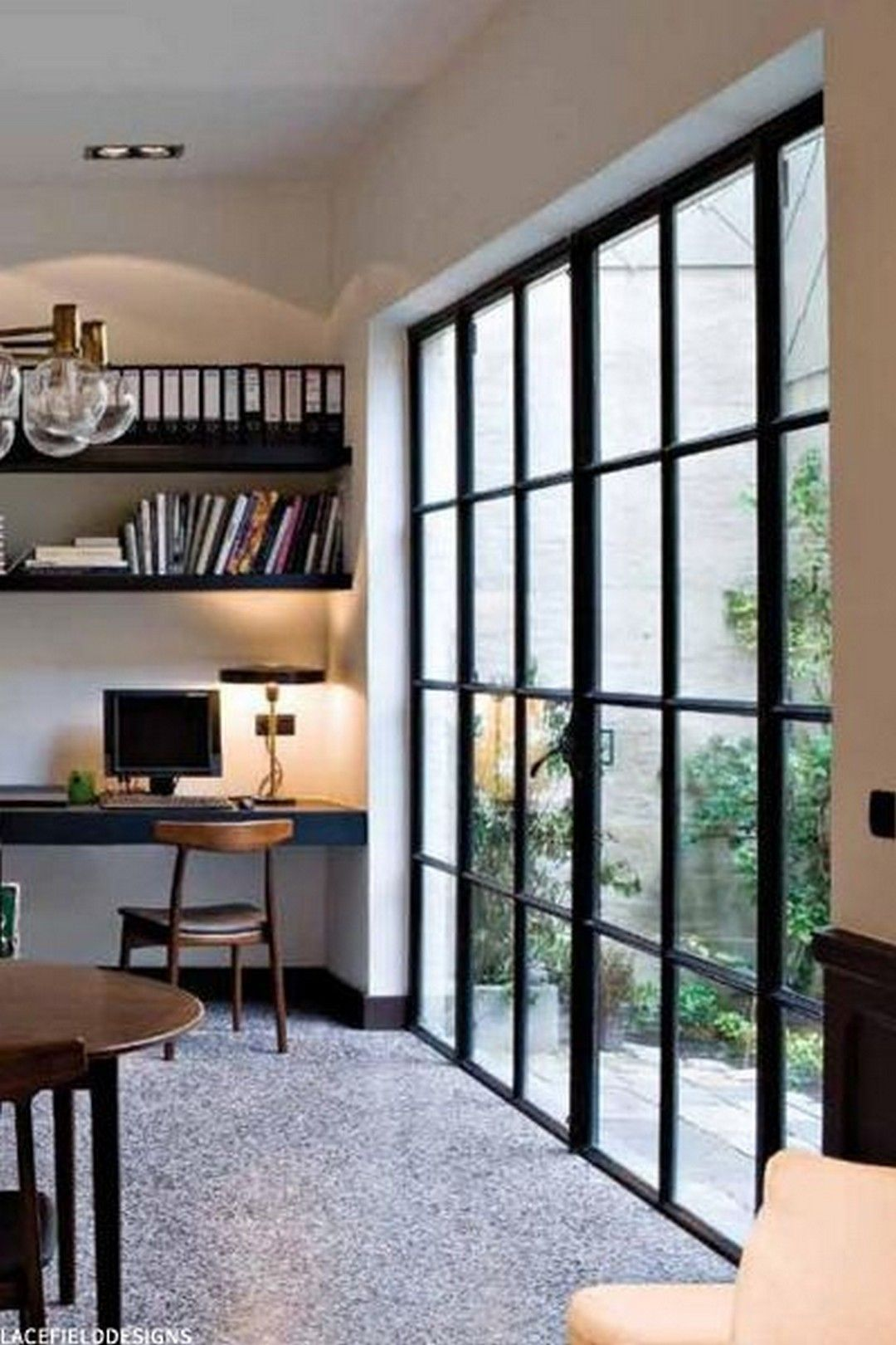 65 modern farmhouse home office with black window trim in