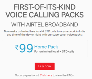 Airtel 99 Plan - Unlimited Local And STD Calling To Any Number For