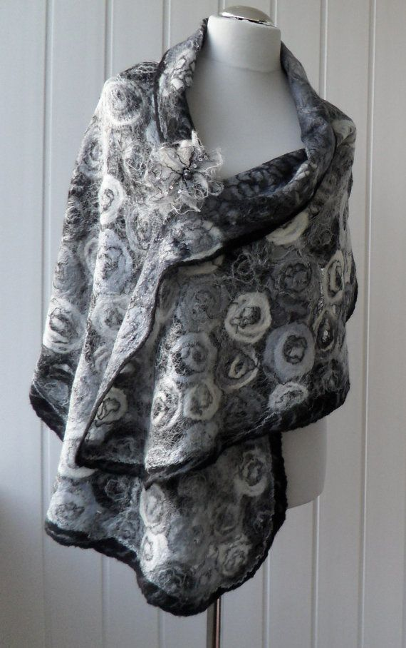 0345aed186e Felted shawl wool Black & White, Grey unique shawls Handmade Felt ...