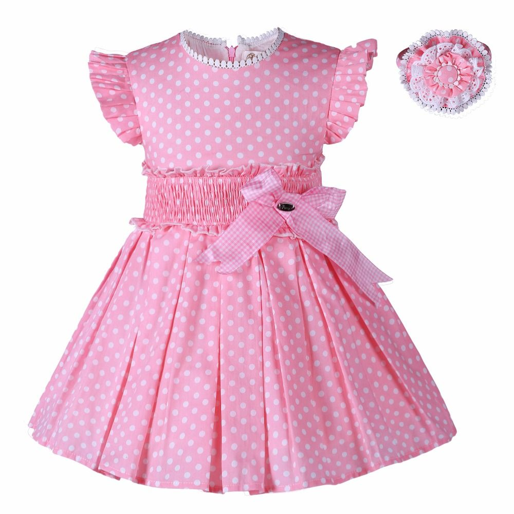 0d3255844bd25 Pettigirl Girls Princess Dresses Pink Dots With Headwear Kids Summer ...