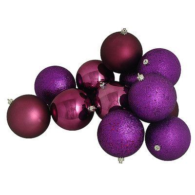 Vickerman 12 Piece Shatterproof Christmas Ball Ornament Set Color: Purple Passion