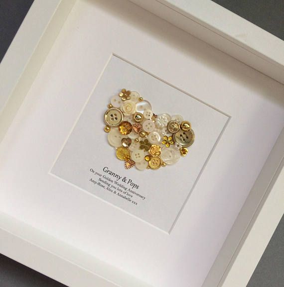 50th Anniversary Gifts Golden Wedding Anniversary Gift 50th Wedding Golden Anniversary Button Art Traditional Gift Anniversary Gifts & Personalised 50th Anniversary Gifts - 50th Wedding Anniversary ...
