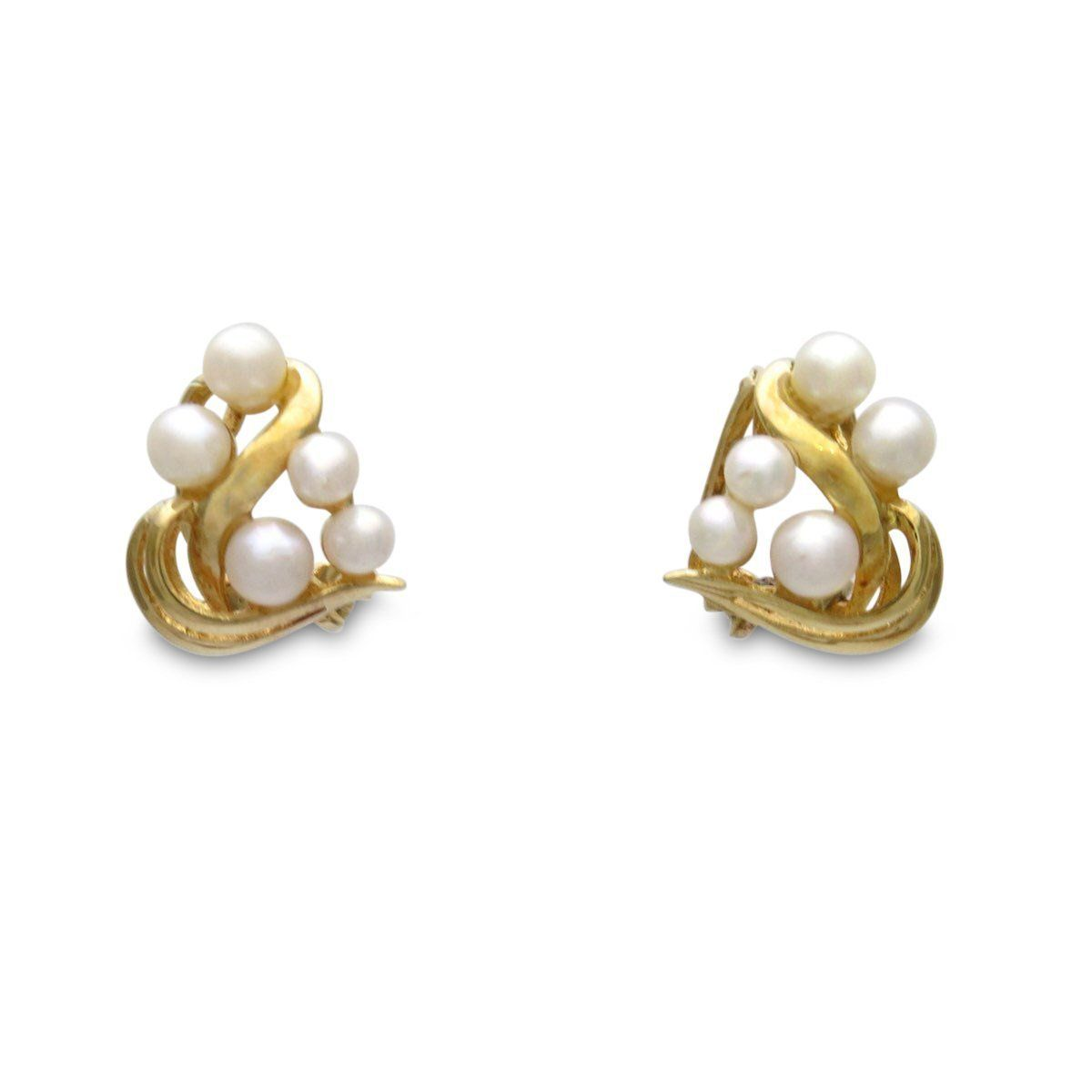 2008295a4 14k Gold Cultured Pearls Clip Earrings, Vintage, 1930s to 1980s Designed as  a wave and bubbles, these beautiful vintage petite clip earrings are set  with 5 ...