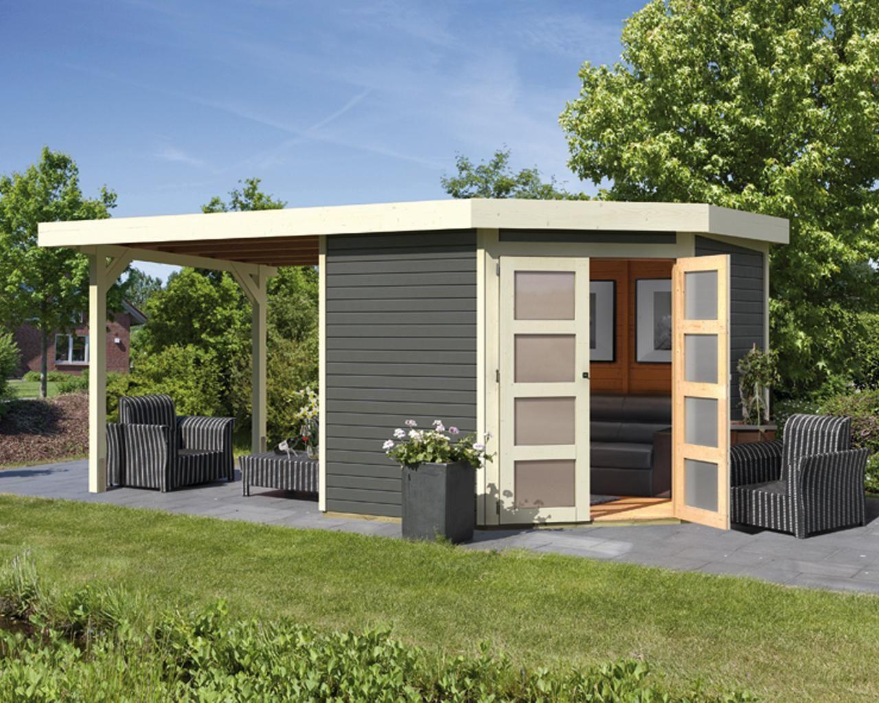 Abri de jardin à toit plat 5.57m² en bois massif vitrifié ...