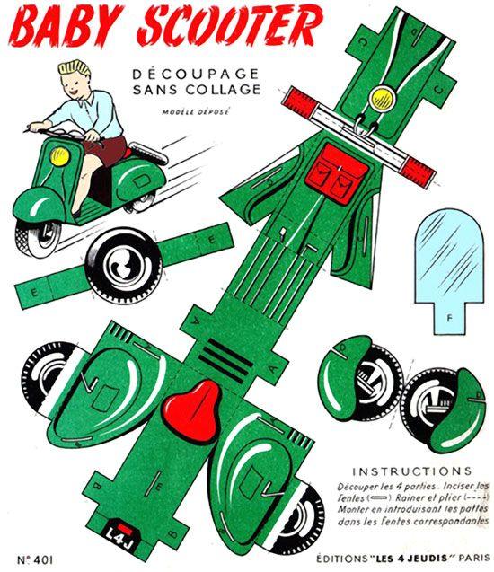 vespa scooter paper model operation christmas child shoe. Black Bedroom Furniture Sets. Home Design Ideas