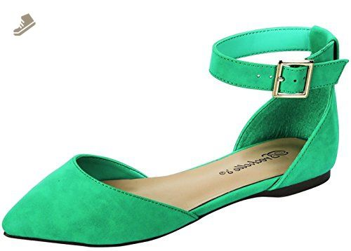 1f3cc29137047 Breckelle's Women's Daisy-14 Ankle Strap Pointed Toe Ballet Flats ...