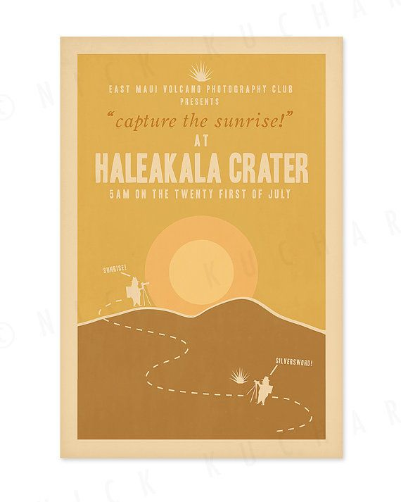 Haleakala Crater 12x18 Retro Hawaii Travel Print Hawaii Travel