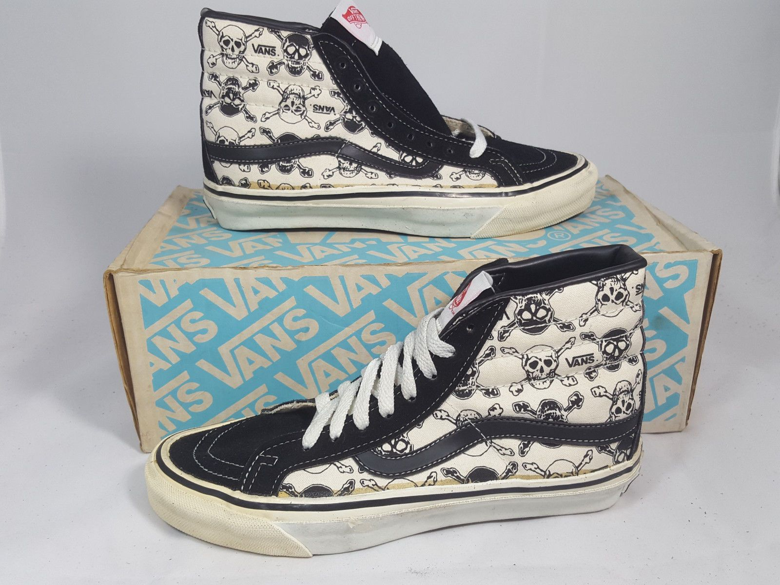 Vintage Vans shoes SK8 HI WHITE PIRATE SKULL made USA Men's