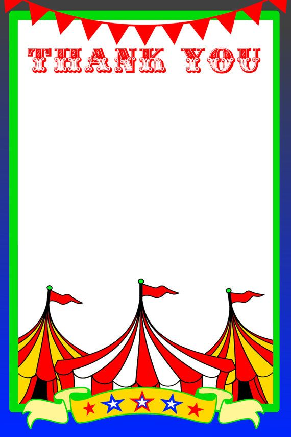 Circus Thank You Card Carnival Thank You Note By Adtrcustomdesigns