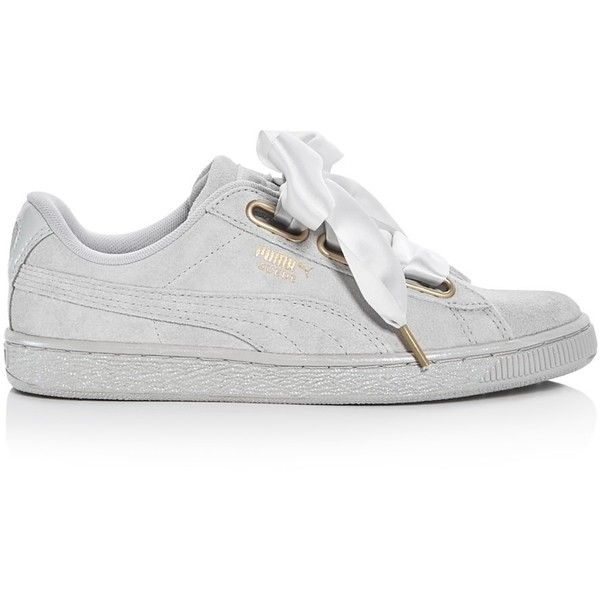 PUMA White Basket Heart Patent Leather Sneakers ( 80) ❤ liked on ... 9730f2128