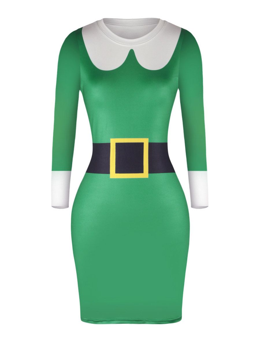 Green long sleeve cocktail dress  Green Long Sleeve Christmas Womenus Bodycon Dress
