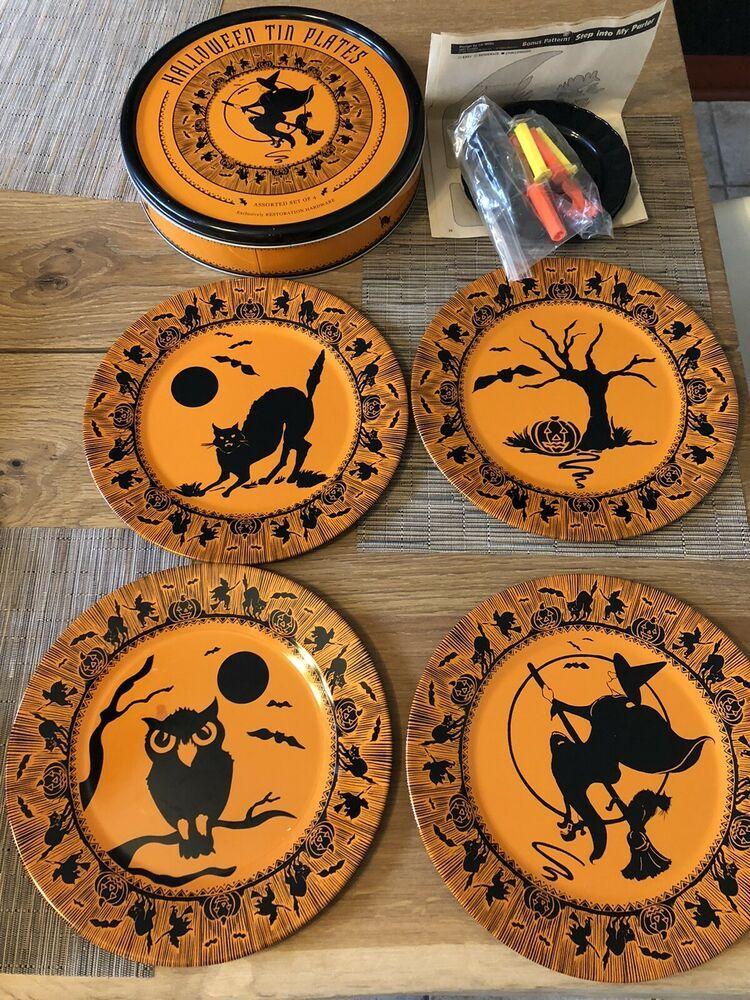 Restoration Hardware Vintage Halloween Tin Plate Set Of 4 Witch Black Cat Owl Ebay In 2021 Vintage Halloween Plate Sets Pumpkin Carving Tools