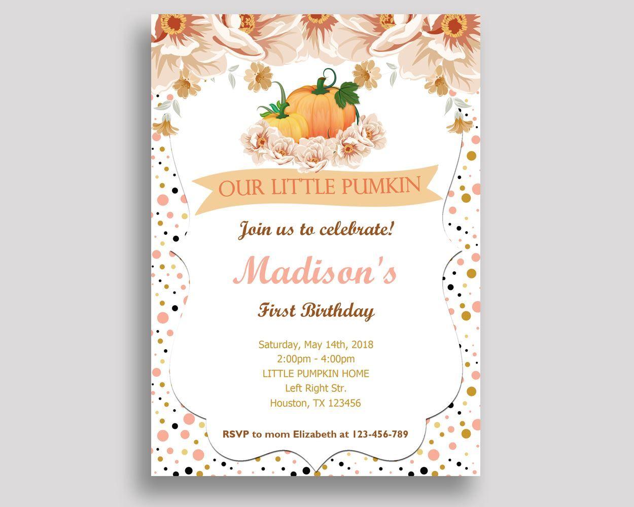 Pumpkin Birthday Invitation Pumpkin Birthday Party Invitation ...
