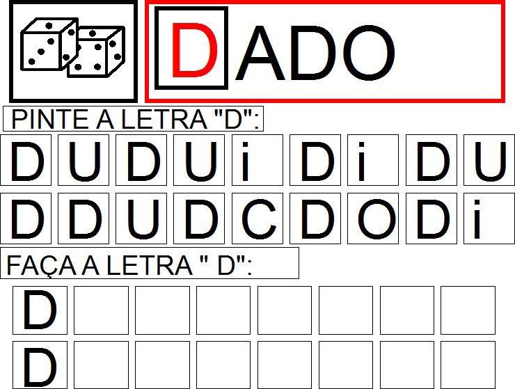 Faca A Letra D Atividades Com Vogais Alfabetizacao Atividades
