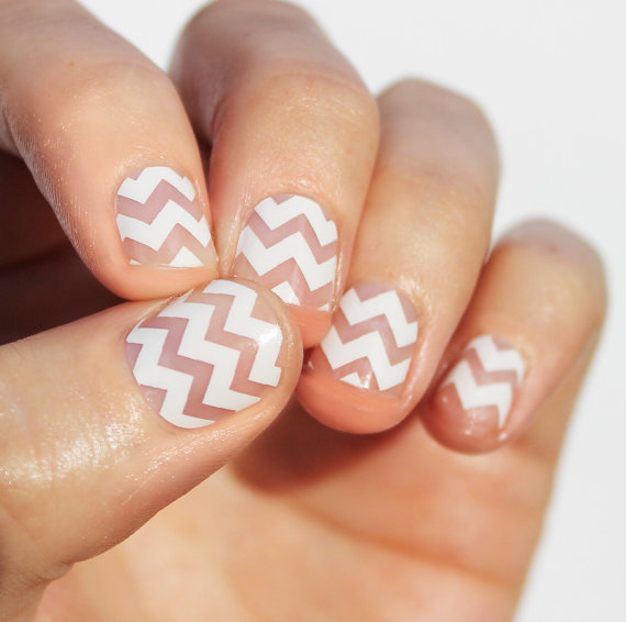White Wide Chevron Transparent Nail Wraps by SoGloss on Etsy | Nails ...