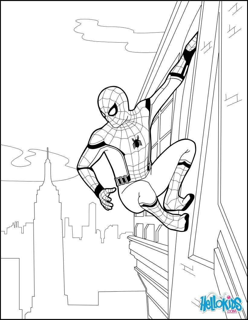 Spiderman coloring page from the new Spider Homeing