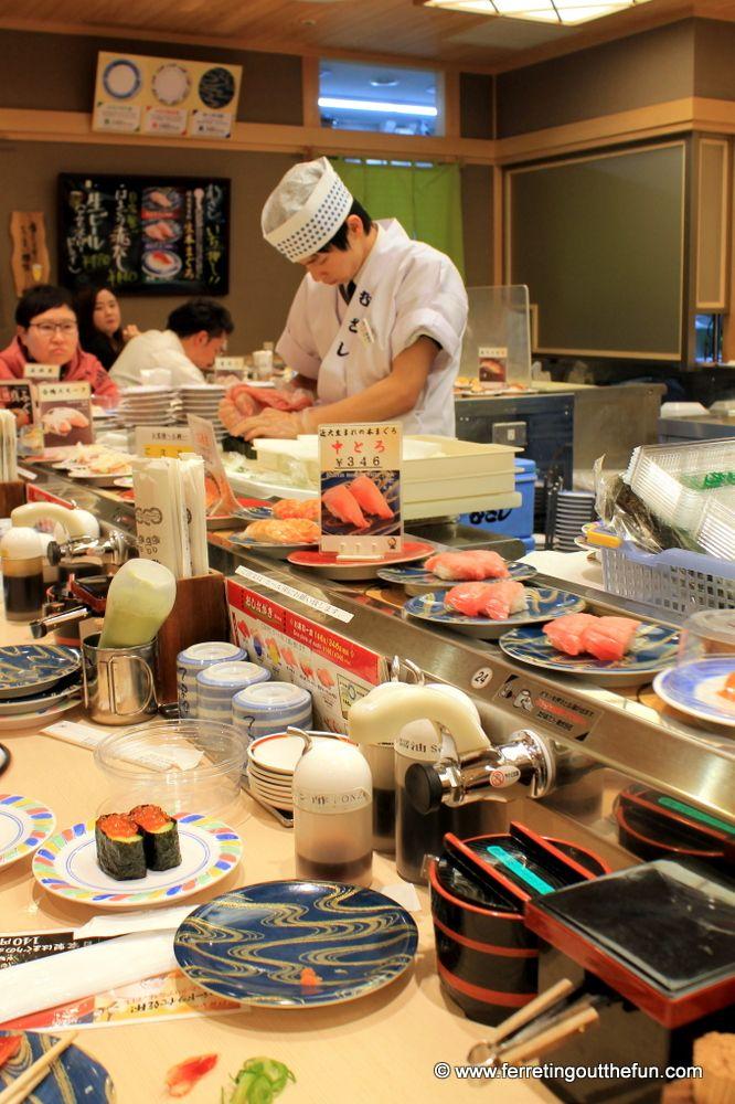 Conveyor belt sushi restaurant in Kyoto, Japan