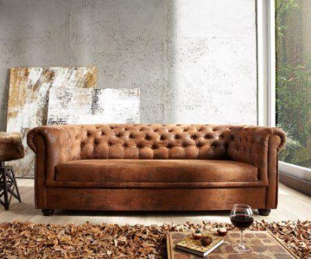 Sofa Chesterfield Braun Wildlederoptik Couch Abgesteppt 3-Sitzer