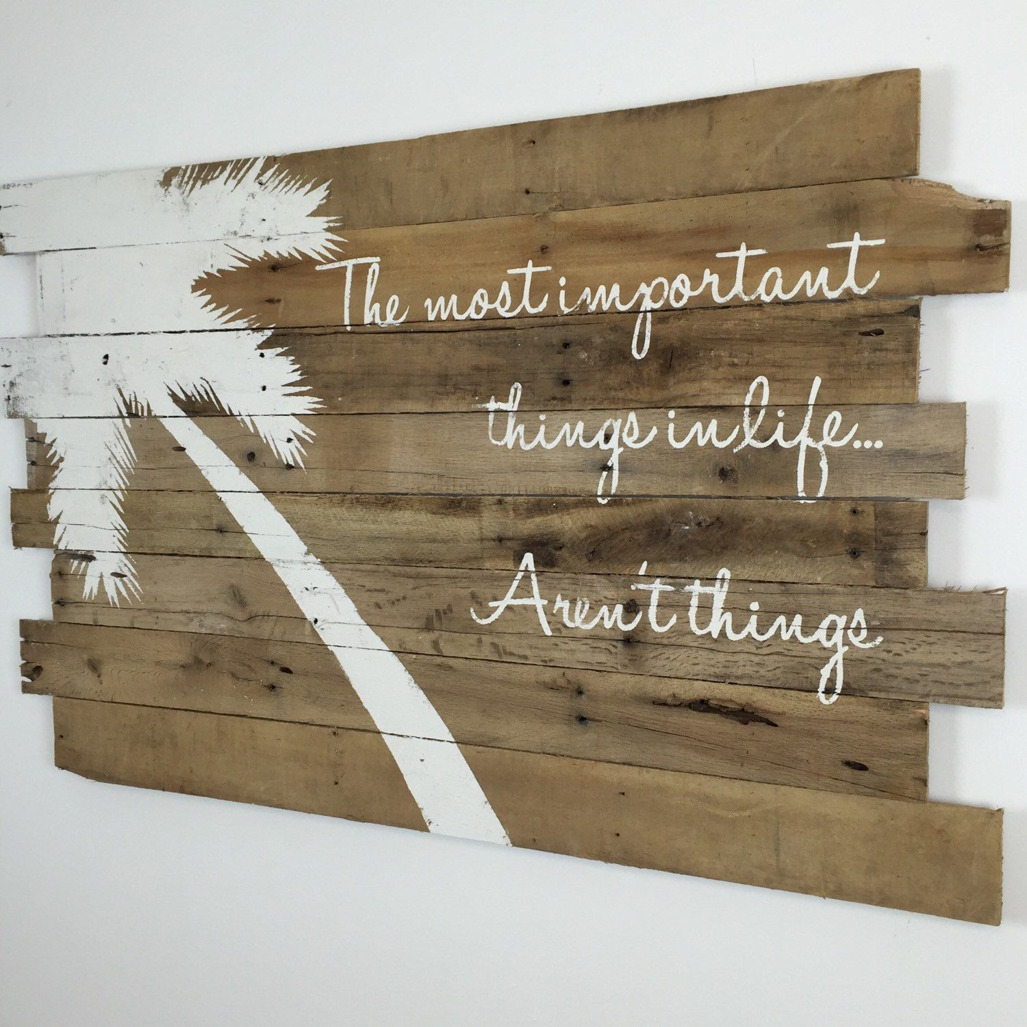 Inspirational Quotes On Wood: Beach Decor White Palm Tree And Inspirational Quote On