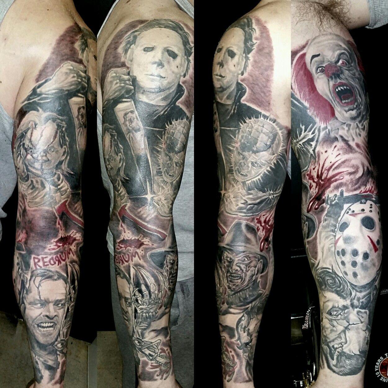 Horror Movie Sleeve Sleeve Tattoos Movie Tattoos Horror Tattoo