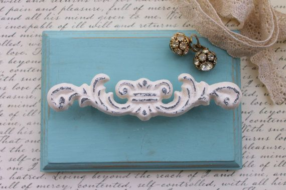 Items Similar To Shabby Knobs Drawer Pulls Chippy Upcycled Off  White Distressed Victorian Cabinet Hardware Shabby Chic Cast Iron  Scroll Decorative Knob On ...