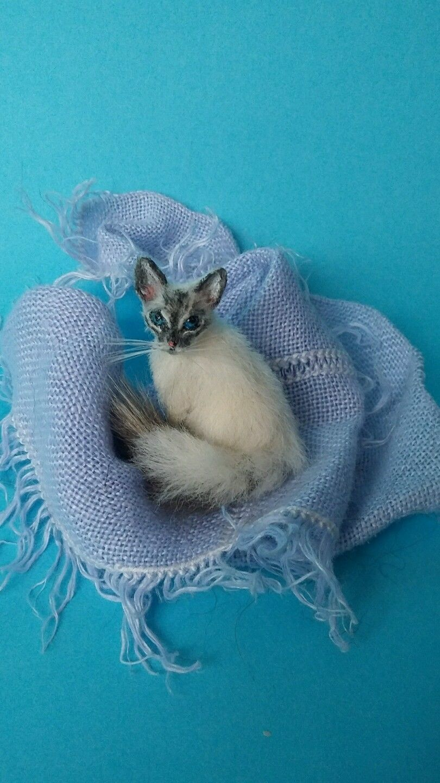 OOAK Realistic balinese cat Dollhouse Handmade by