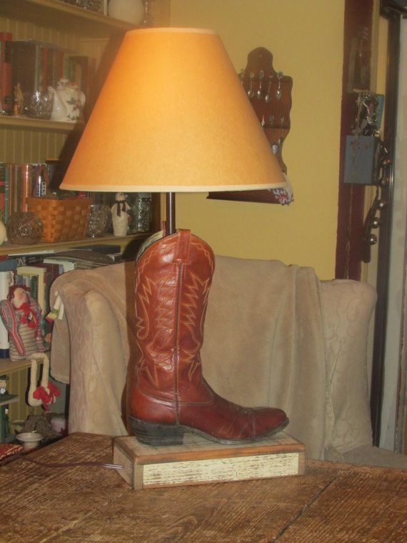 Vintage All Leather Brown Western Boot Desk by TheLampWorkShop, $275.00