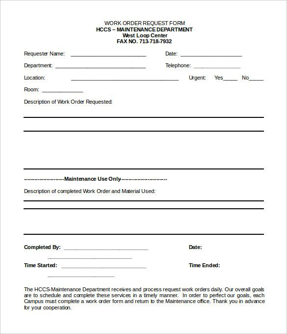 Work Order Template Order Form Template Time Off Request Form
