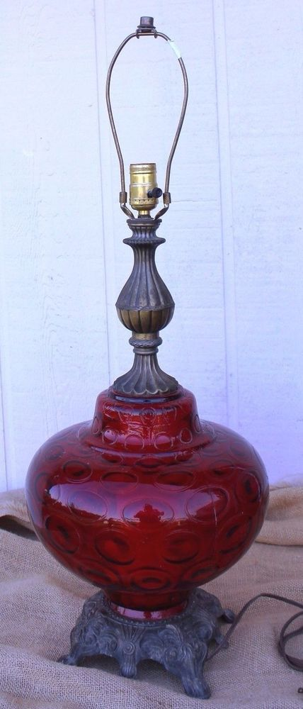 Vintage 1970s Mid Century Red Globe Bubble Glass 3 Way Table Lamp